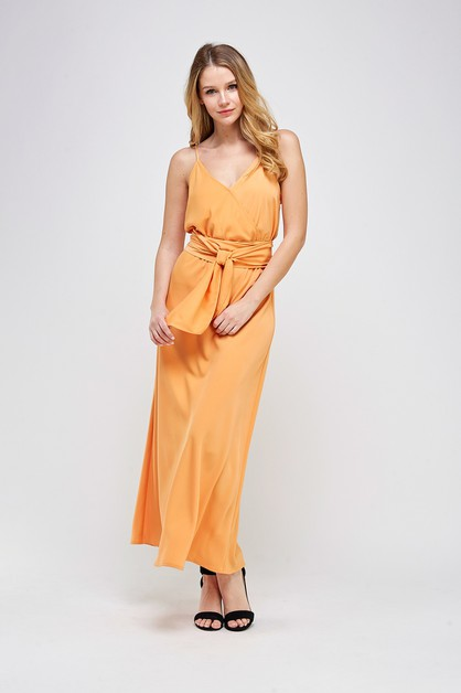 SURPLICE BELTED MAXI DRESS - orangeshine.com