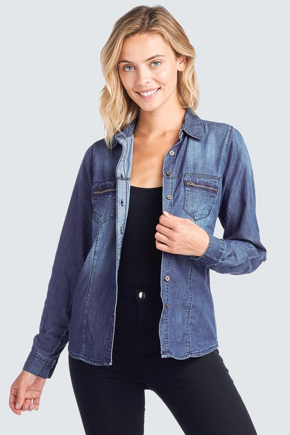 LONG SLEEVE DENIM SHIRT CHAMBRAY - orangeshine.com