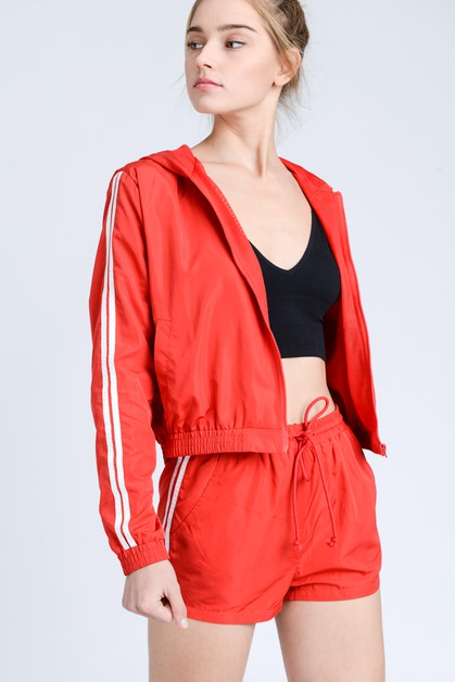 Striped Hooded Windbreak Crop Jacket - orangeshine.com