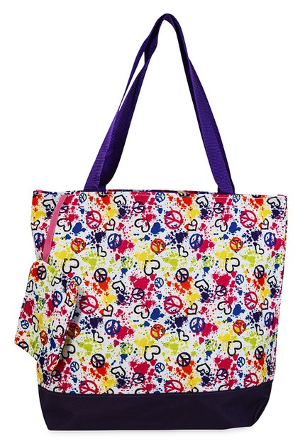 Peace Sign Tote Bag 17 inch - orangeshine.com