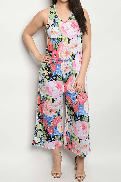 FLORAL PRINT POCKET SIDE WIDE LEG JU - orangeshine.com