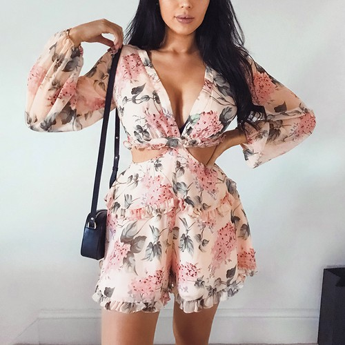 Floral Chiffon Cut Out Romper - orangeshine.com