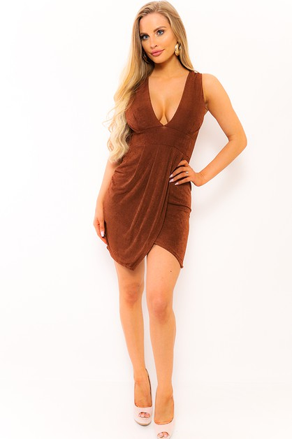 V NECK SLEEVELESS DRESS  - orangeshine.com