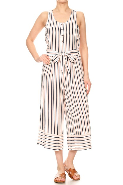 Stripes Wide Leg Jumpsuits Sets - orangeshine.com