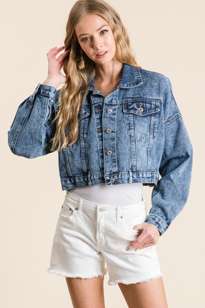 WASHED CROPPED DENIM JACKET - orangeshine.com