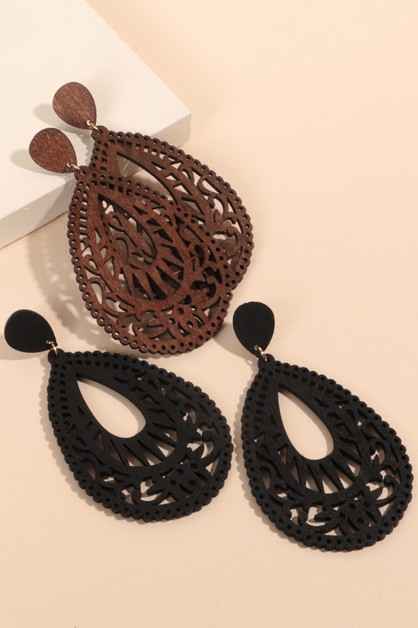 Wooden Cut Out Tear Drop Earrings - orangeshine.com