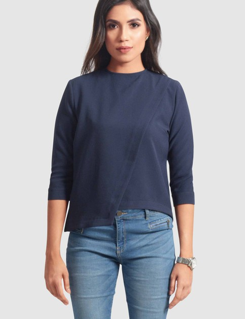 Stretch Three-Quarter Sleeve Top - orangeshine.com