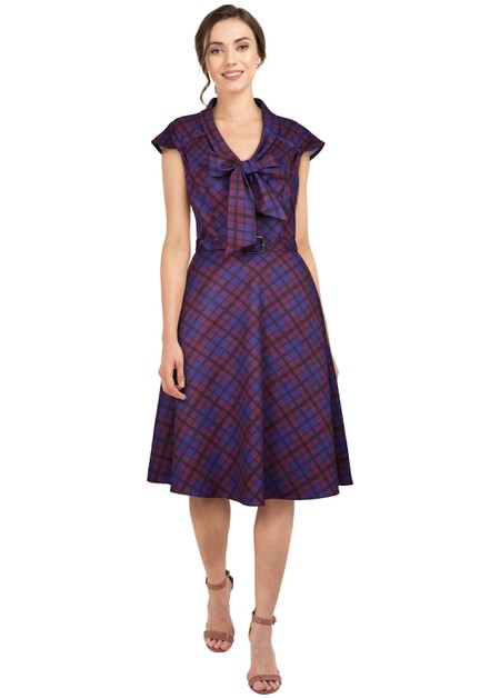 Plus Size Purple/Plaid Retro 1940s Dress - orangeshine.com