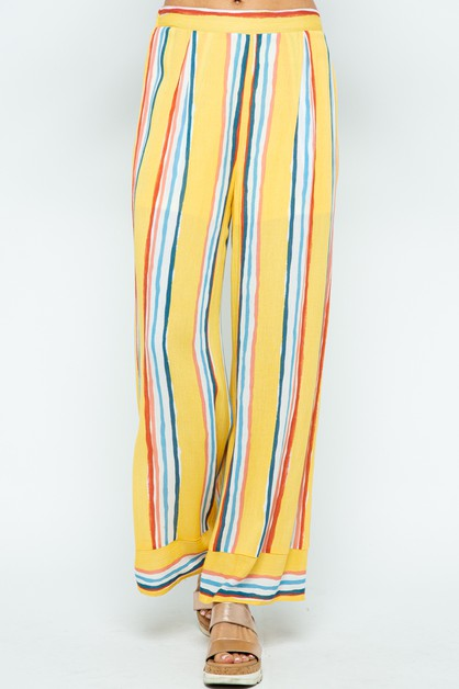 MULTI COLOR STRIPED PALAZZO PANTS - orangeshine.com