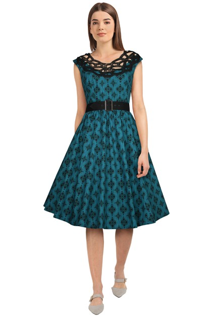 Plus Size Teal/Print Lace Retro Dress - orangeshine.com