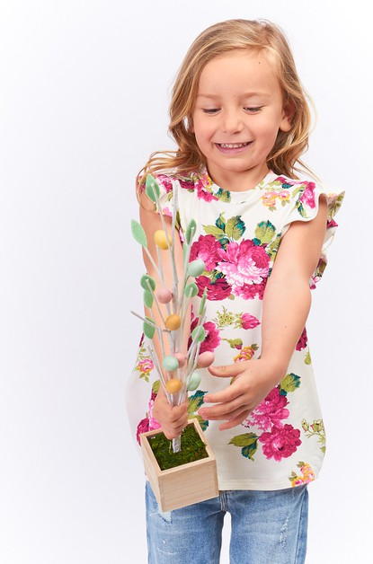 KIDS FLORAL RUFFLE SLEEVE TOP - orangeshine.com