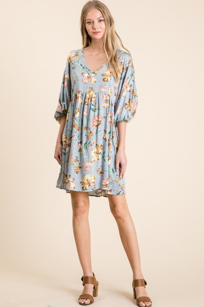 JACQUARD PRINT V-NECK DRESS  - orangeshine.com