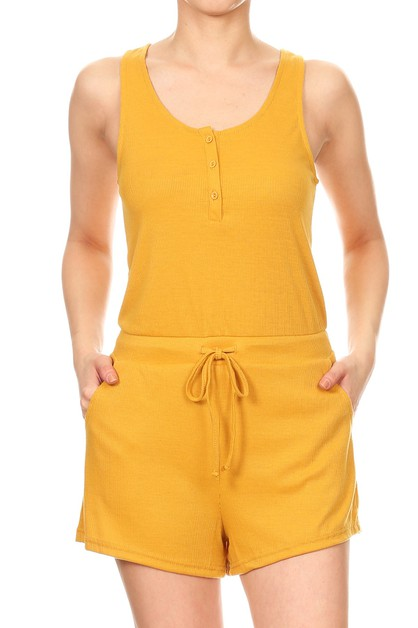 Rib Knit Solid Rompers Jumpsuits - orangeshine.com