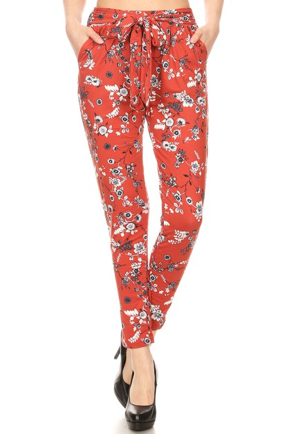 Red Floral Joggers Harem pants Belt - orangeshine.com