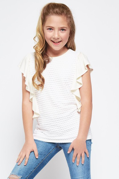 KIDS SOLID FISH NET RUFFLE TOP - orangeshine.com