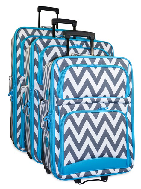 Chevron 3 Piece Luggage Set - orangeshine.com