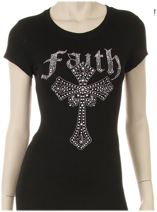 FAITH WITH CROSS CLEAR RHINESTONE CR - orangeshine.com
