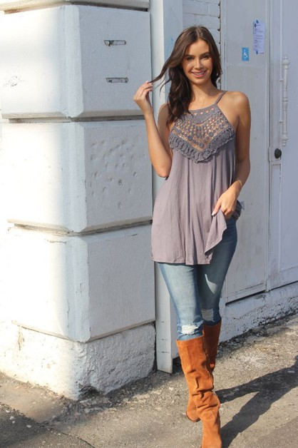 Womens Embroidered Relaxed Fit Tank - orangeshine.com