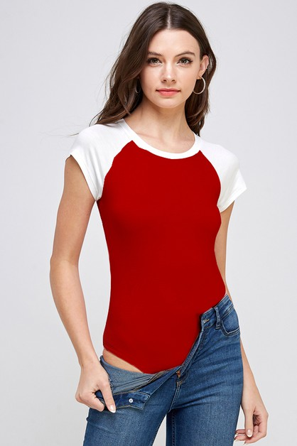 Short Sleeve Raglan Bodysuit  - orangeshine.com
