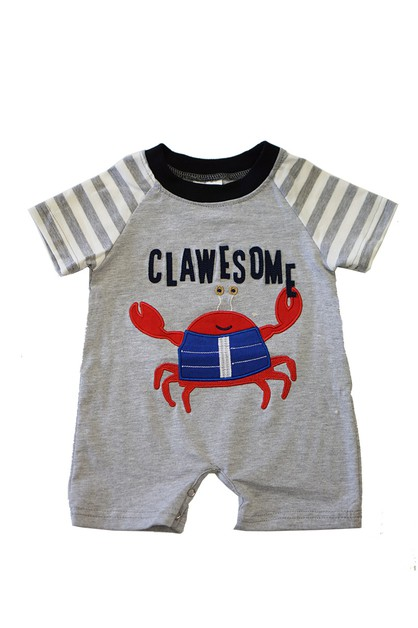 Clawesome crab applique baby boy - orangeshine.com