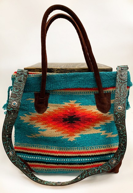 TURQUOISE TOOLED BAG STRAP W CONCHOS - orangeshine.com