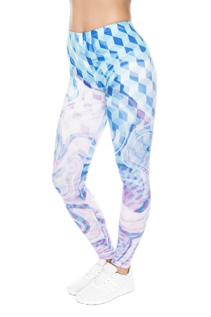 Hypnotic Pastel Printed Leggings - orangeshine.com