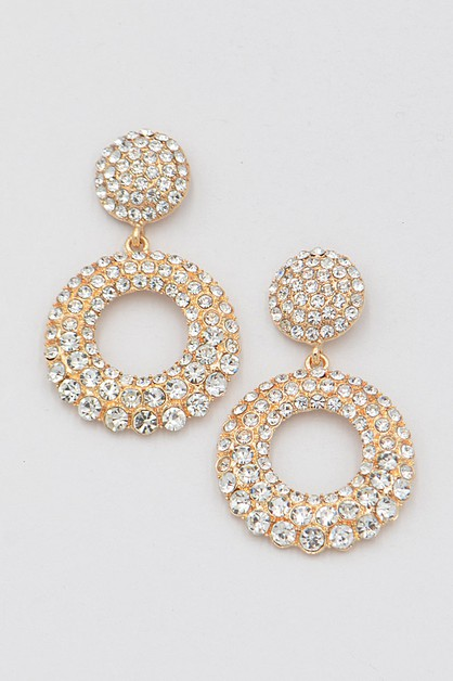 Rhinestone Round Drop Earrings - orangeshine.com