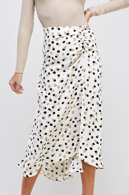 DOT PRINT MIDI SKIRT - orangeshine.com