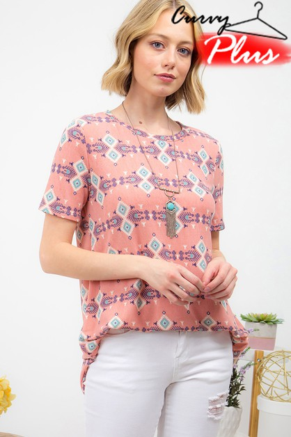 ETHNIC PRINT TUNIC TOP - orangeshine.com