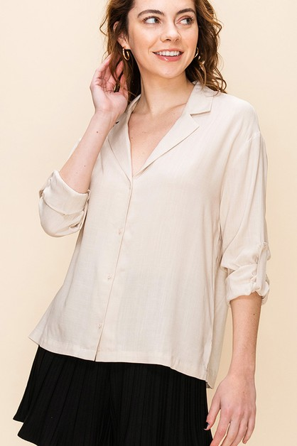 BUTTON UP TOP WITH FOLD UP SLEEVE - orangeshine.com
