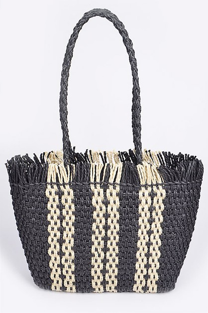 Fringe Straw Shopper Tote Bag - orangeshine.com