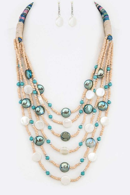 Mix Beads Layer Statement Necklace S - orangeshine.com