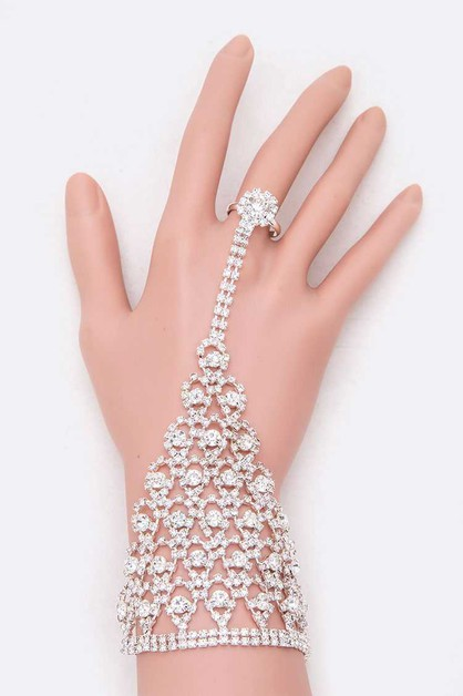 Rhinestone Statement Palm Ring Brace - orangeshine.com