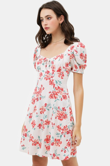 CONTRAST FLORAL SHORT SLEEVE DRESS - orangeshine.com