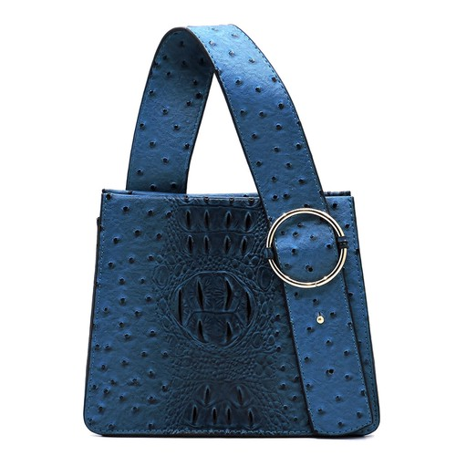 Ostrich Croc Buckle Top Handle Bag - orangeshine.com