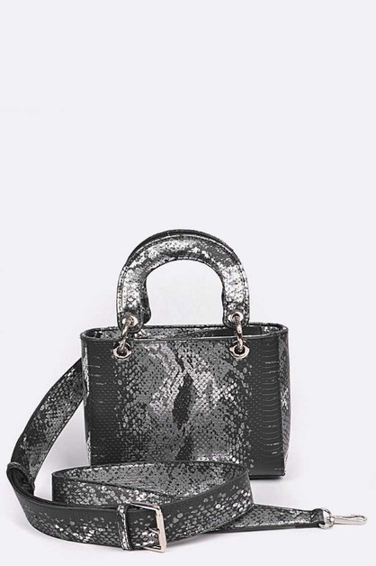 Python Print Convertible Mini Bag - orangeshine.com