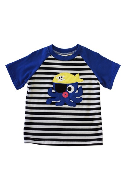 Octopus applique boy shirt - orangeshine.com