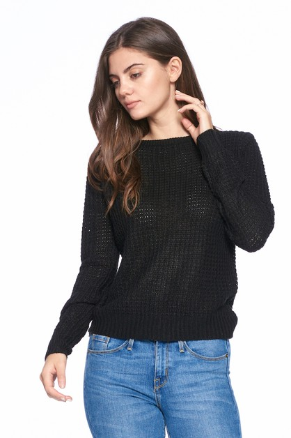 LONG SLEEVE SCOOP NECK WAFFLE TOP - orangeshine.com