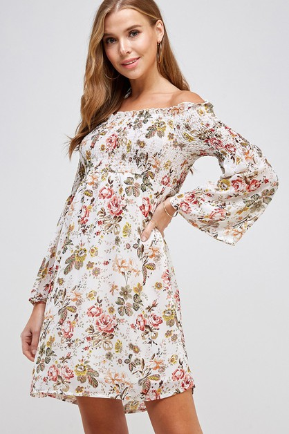 Floral Print Smocked Off Shoulder Dr - orangeshine.com