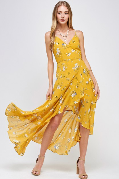 FLOWING FLORAL  CHIFFON  MAXI DRESS - orangeshine.com