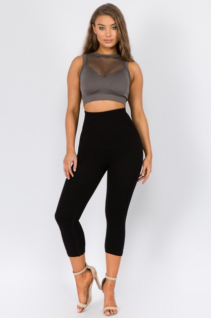 High Waist Compression Capri Legging - orangeshine.com