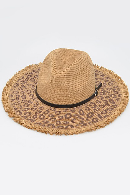 Belt Attached Straw Animal Print Hat - orangeshine.com