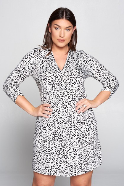Plus - Leopard V-neck Dress  - orangeshine.com
