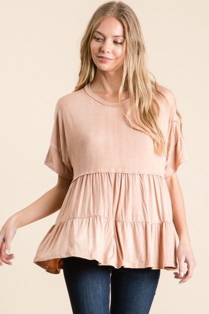 WASHED RAYON RUFFLE BOTTOM TOP - orangeshine.com
