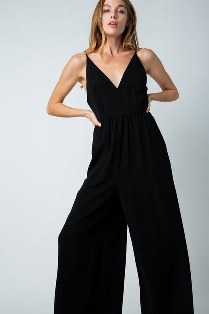 V NECK OPEN BACK JUMPSUIT - orangeshine.com