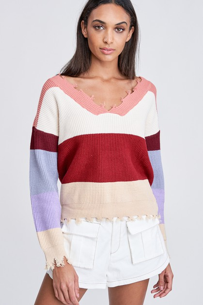 STRIPE SWEATER TOP - orangeshine.com