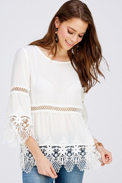 Lace Trimmed Bell Sleeve Top - orangeshine.com