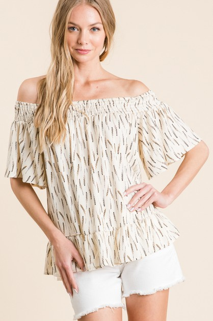 RAYON PRINT OFF SHOULDER TOP - orangeshine.com
