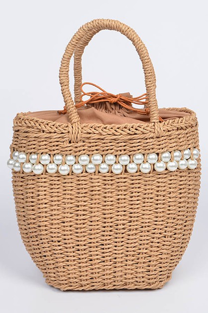 Structure Pearl Accent Straw Bag - orangeshine.com