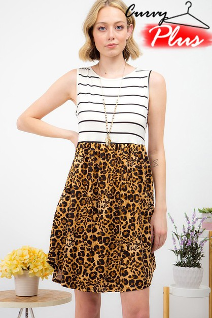 STRIPE ANIMAL PRINT SLEEVELESS DRESS - orangeshine.com